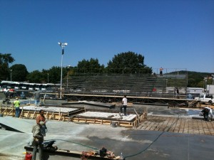 Building Bleachers in the middle of a construction site