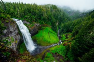 Mountain waterfall and river