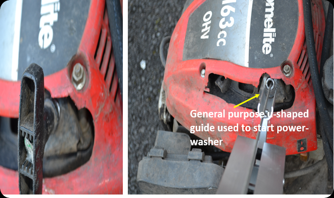 The pull starter tool has a guide for the power washer