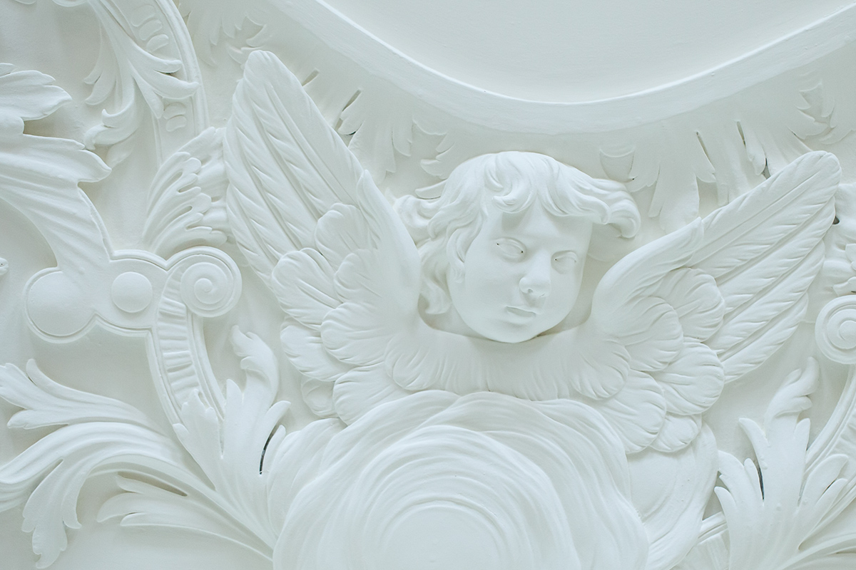 Georgian plaster ceiling by Thomas Clayton at Marchmont House, Greenlaw, Berwickshire
