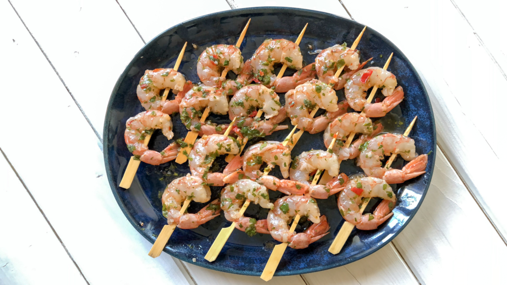 Shrimp skewered and ready to go on the grill.