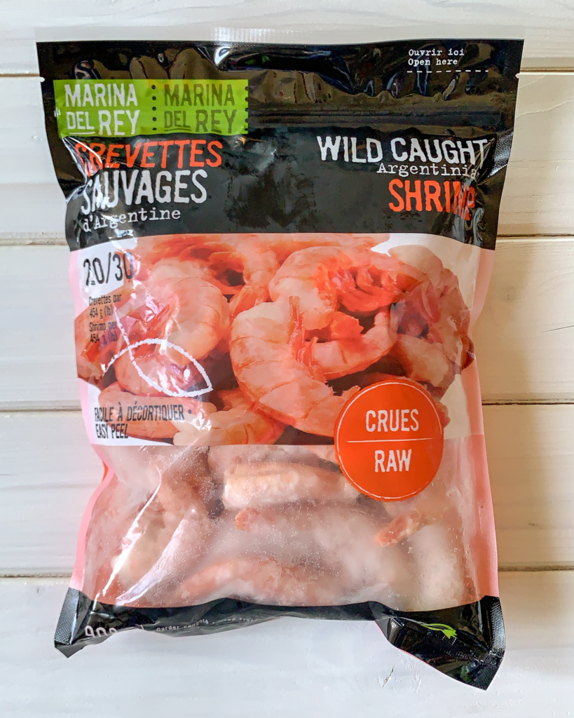 A bag of Marina Del Rey Wild Caught Argentinian Shrimp.
