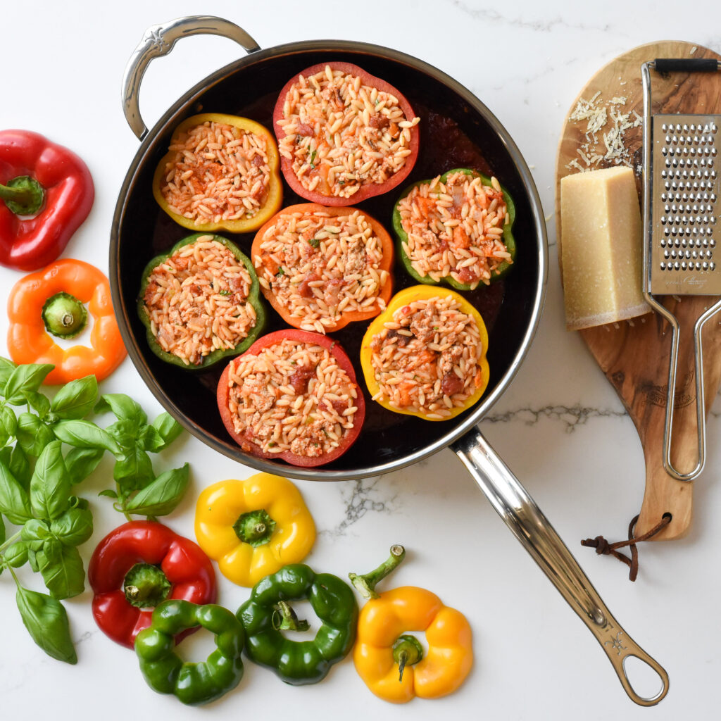Top down view of how these stuffed peppers should be placed in a pan.