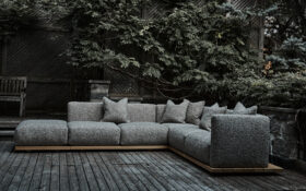 L-Shaped outdoor sofa in grey