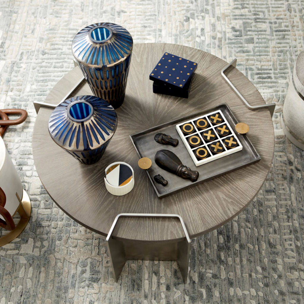 arial view of grey coffee table