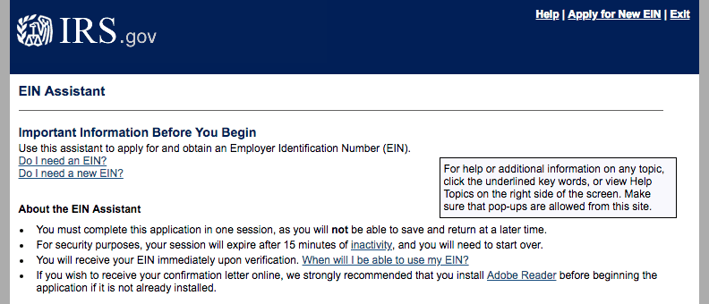IRS employer ID tool