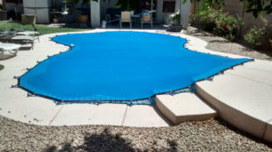 Blue pool cover