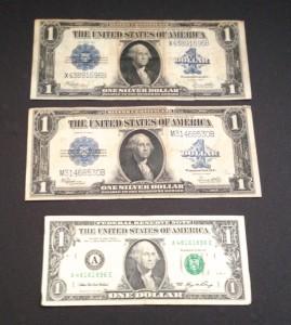 big dollar bills circa 1920s
