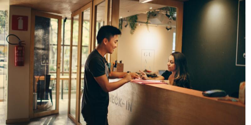 receptionist and customer