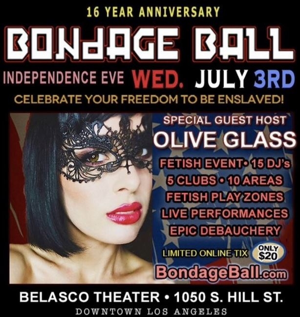Olive Glass Guest Hosts Bondage Ball On Wednesday