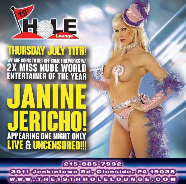 Janine Jericho Headlines at The 19th Hole Lounge, Cloud Nine Show Bar & The Fox Gentlemen's Club