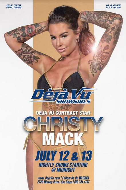Christy Mack Headlines at Déjà vu Showgirls San Diego July 12 – 13