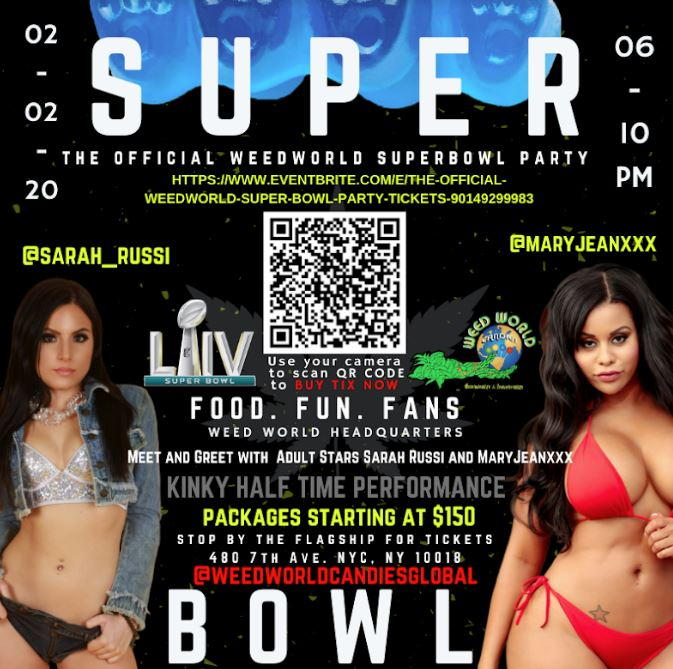 Adult Stars Maryjean & Sarah Russi to Appear & Perform at Weed World's Superbowl Party in NYC this Sunday