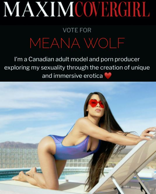Meana Wolf Makes Maxim Covergirl Top 20, Vies to Win