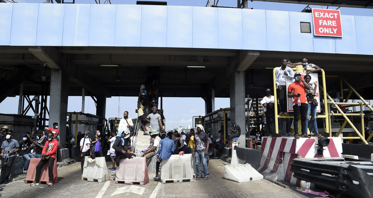 EndSARS protesters at Lekki toll gate