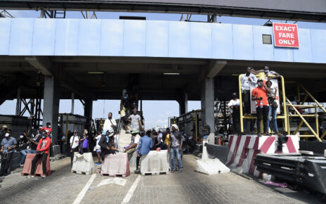 EndSARS protesters at Lekki toll gate
