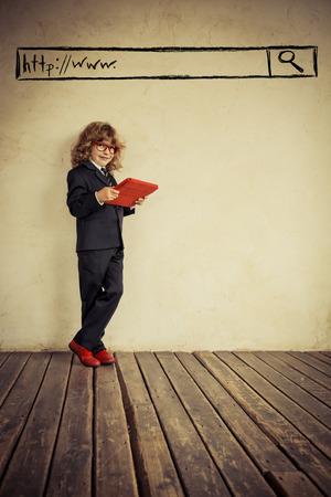 vintage kid with tablet