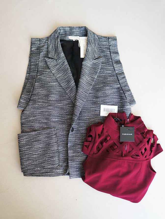 "Red ""Parisian"" dress & ""Carin Wester"" blazer borrowed from the LENA Fashion Library"