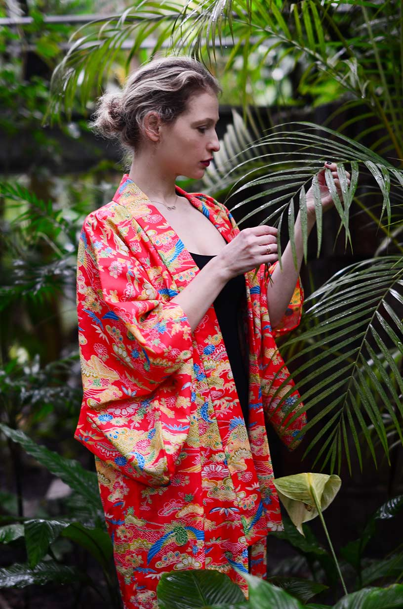 Wearing a borrowed traditional Japanese kimono as an evening coat