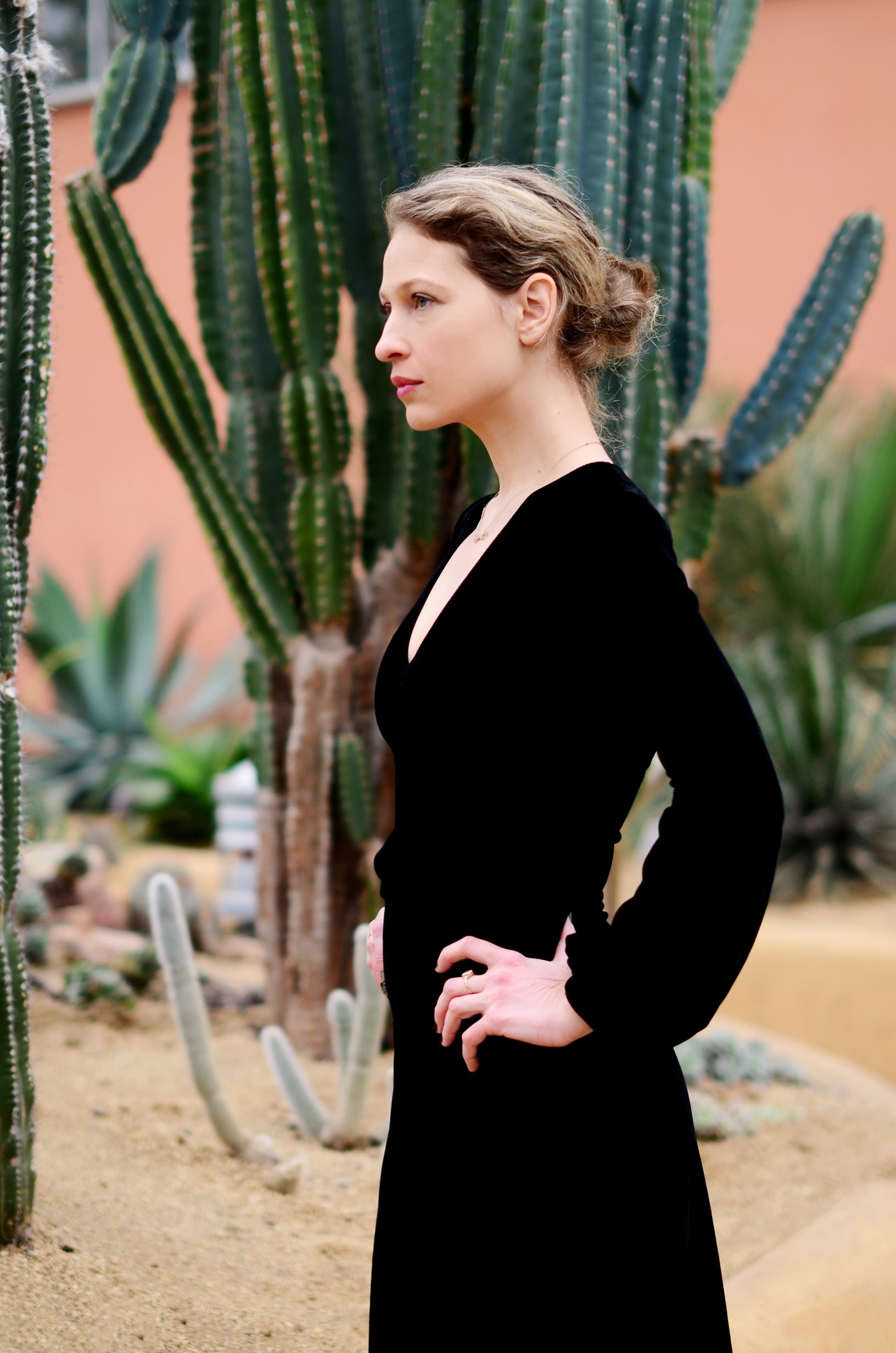 A black velvet evening gown borrowed from the Lena Fashion Library.