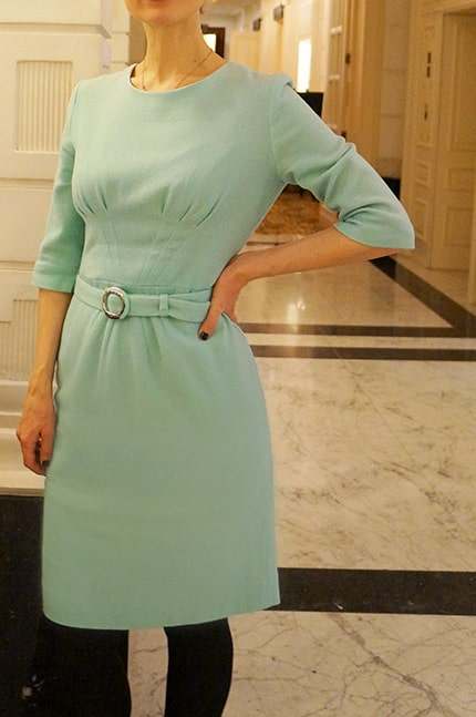 wearing a mint Goat dress from Amsterdam fashion libraryLENA at the Amstel Hotel