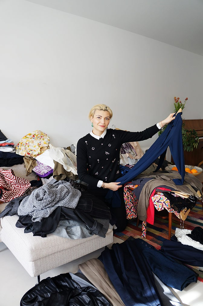 Anna, the personal shopper from The Panachery surrounded by Victoria Onken's clothes