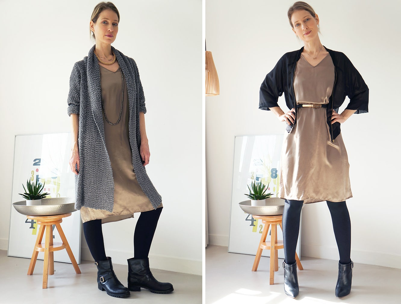 personal stylist Anna is showing Victoria Onken how to style the same dress for day and night