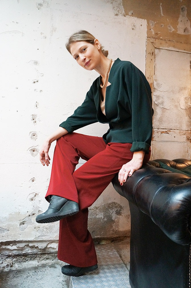 Emerald Filippa K Blazer and Red Trousers
