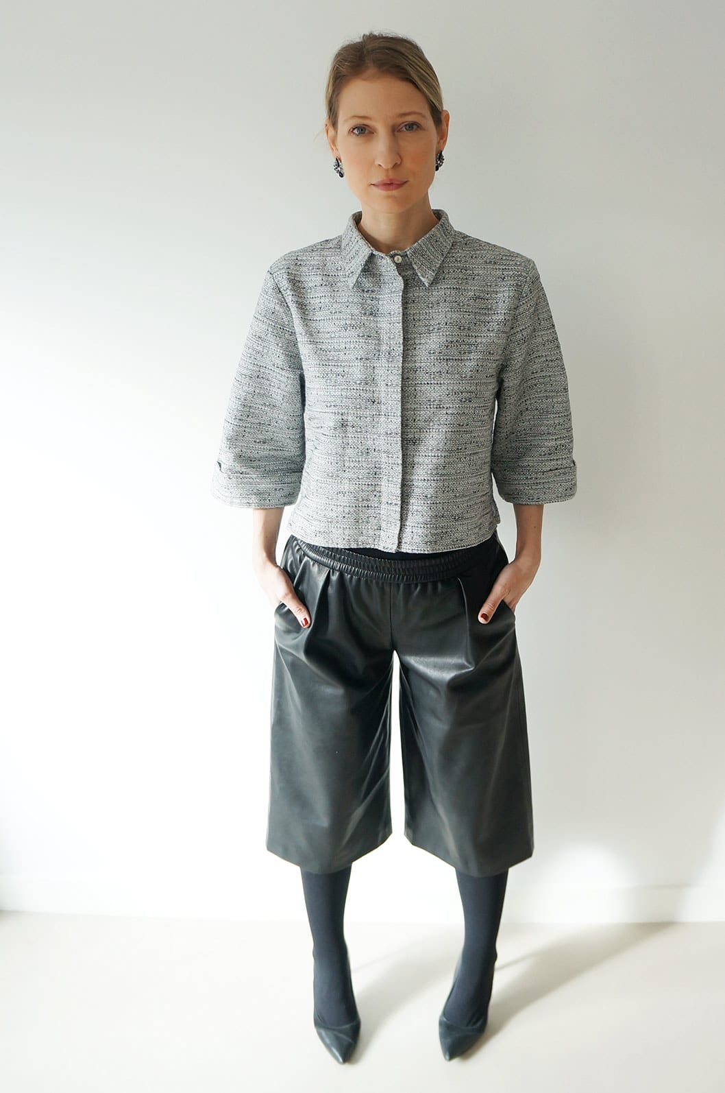 Carin Wester Grey Jacket and faux leather culottes