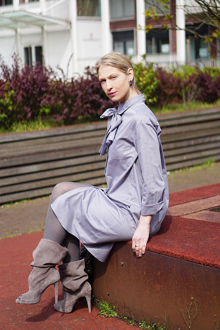 Wearing grey Mila&James shirtdress with a bow