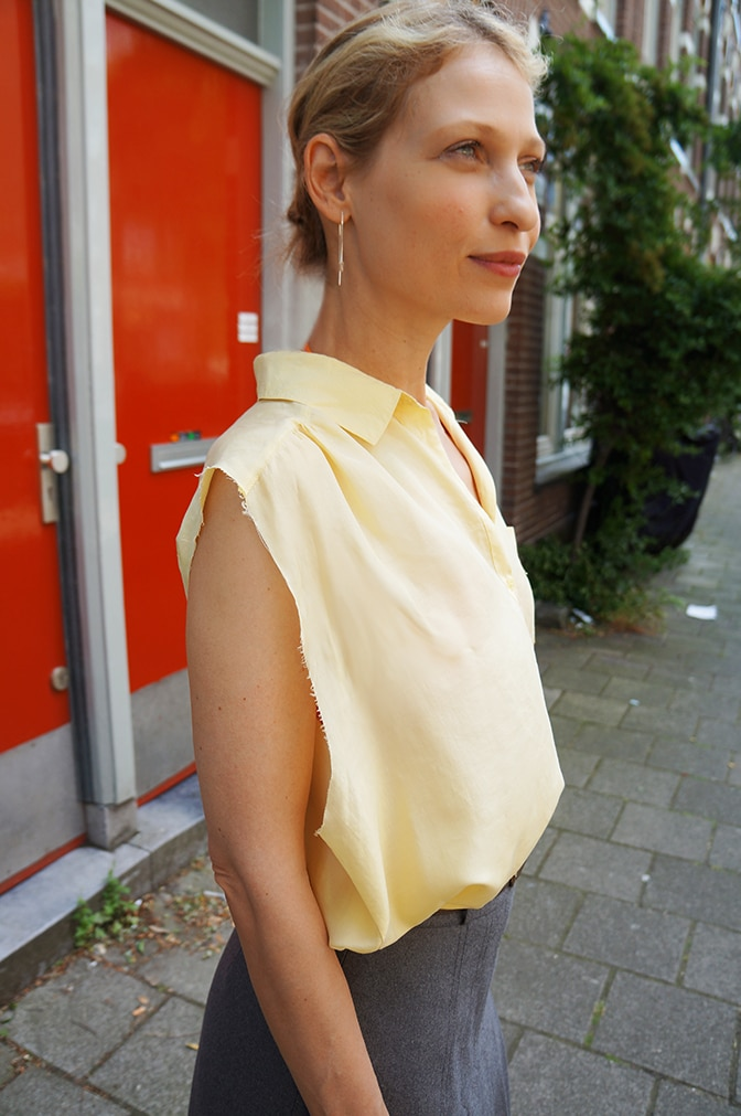 "Wearing the yellow silk top ""Lucia"""