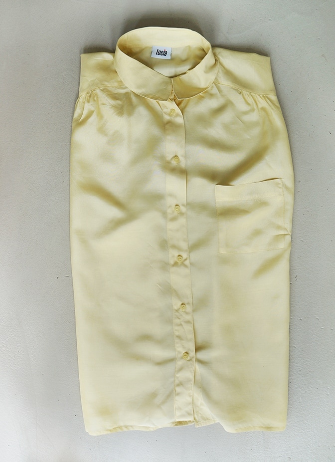 "Yellow silk top ""Lucia"" borrowed from the fashion library"