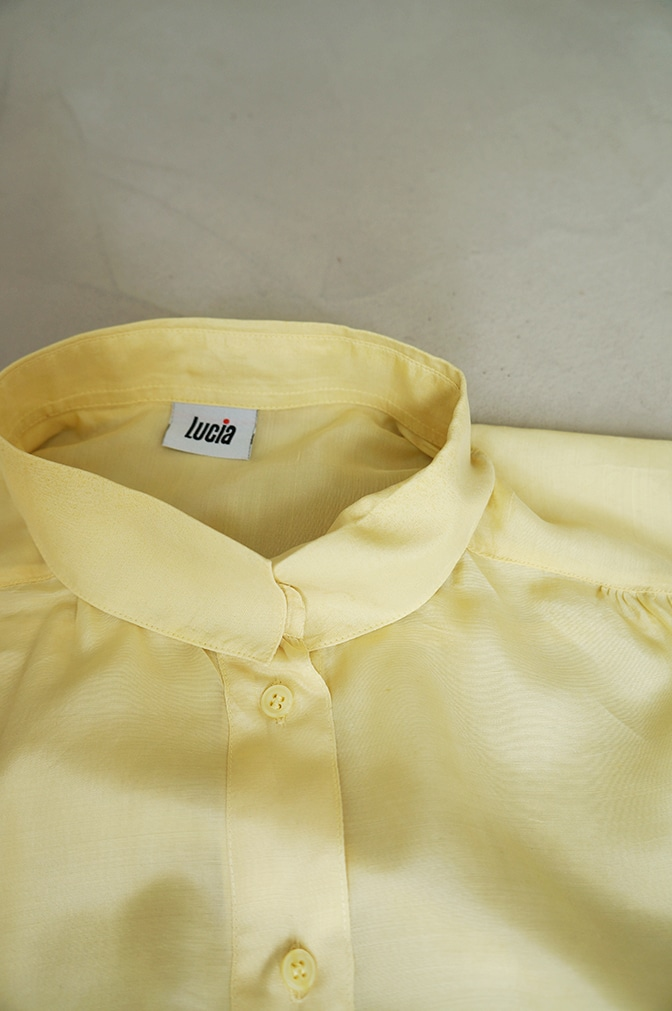 "Yellow silk top ""Lucia"" borrowed from LENA the fashion library - detail"