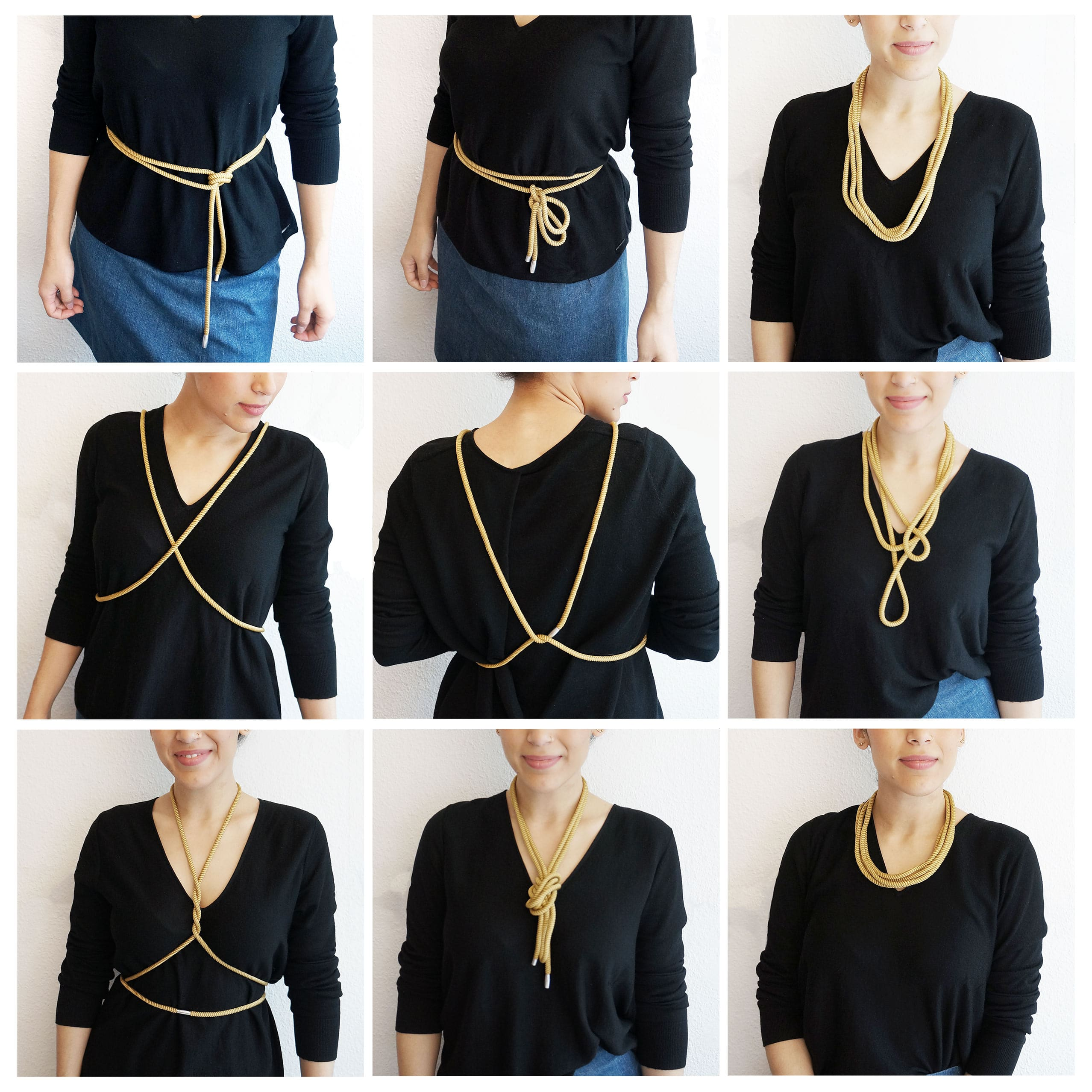 Knothingelse necklace worn in different ways