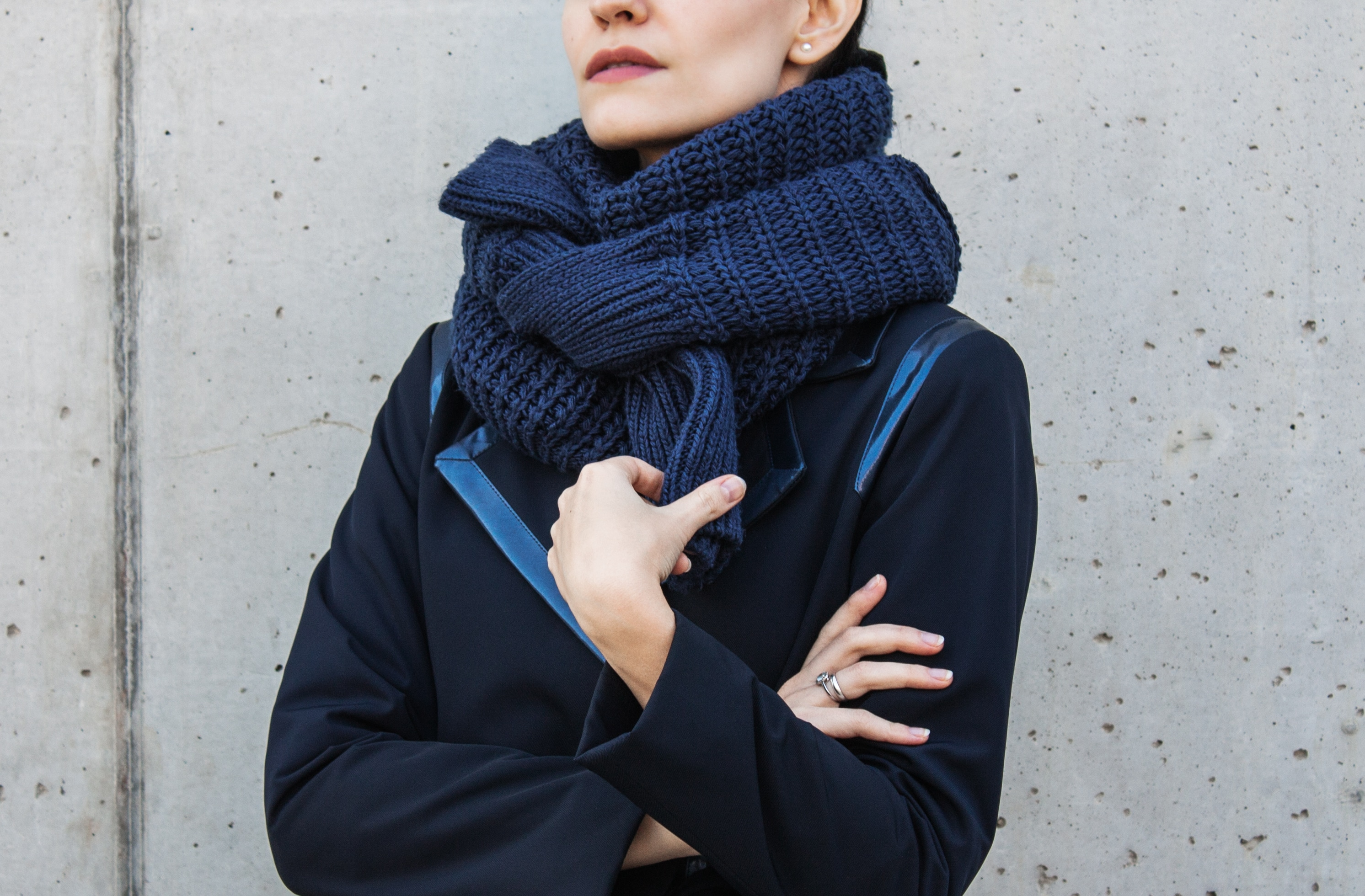 Elena Hilman with a DIY scarf out of a sweater
