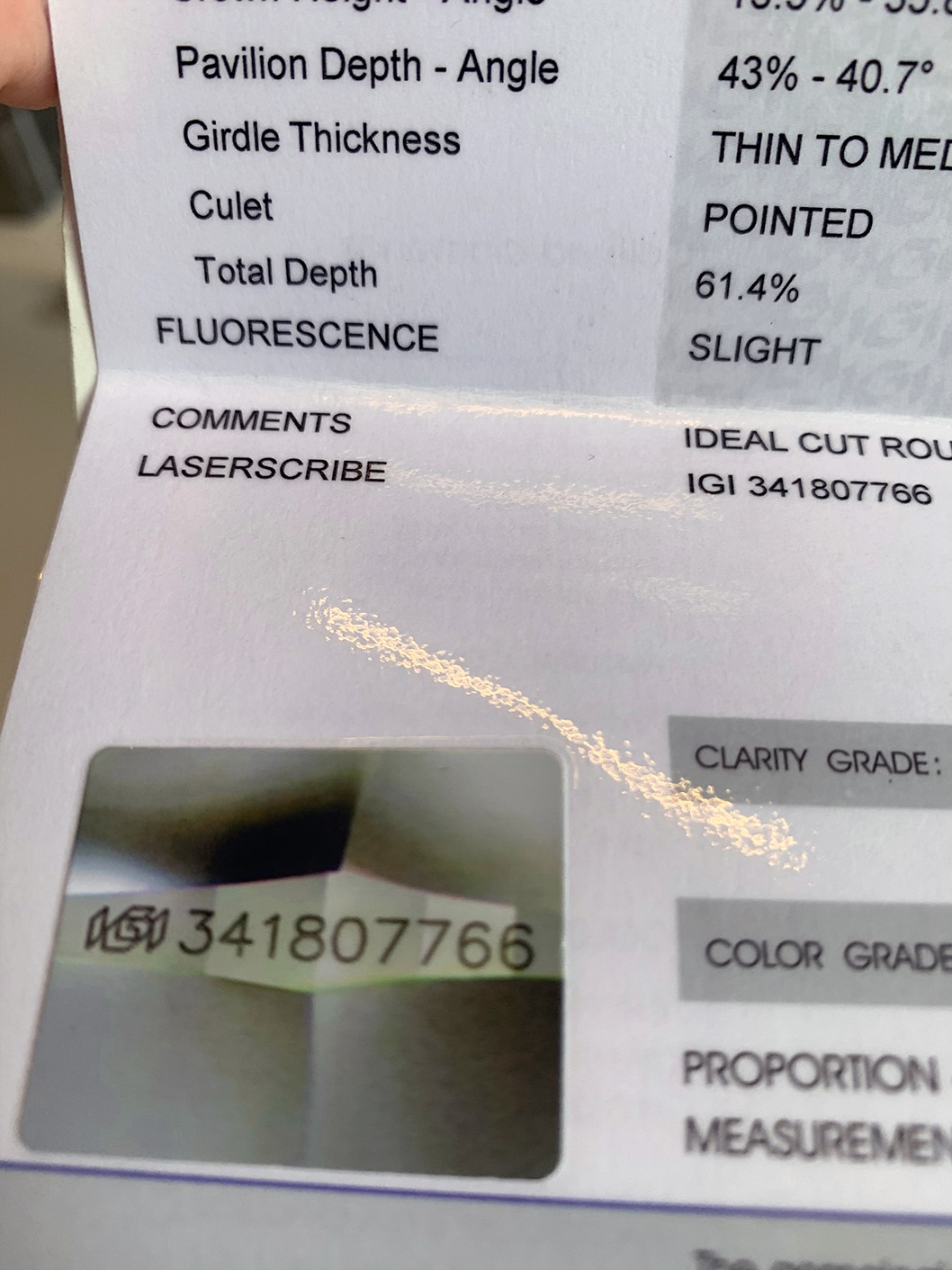 serial number lasered on a diamond