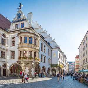 The hofbraeuhaus in the historic city center of Munich