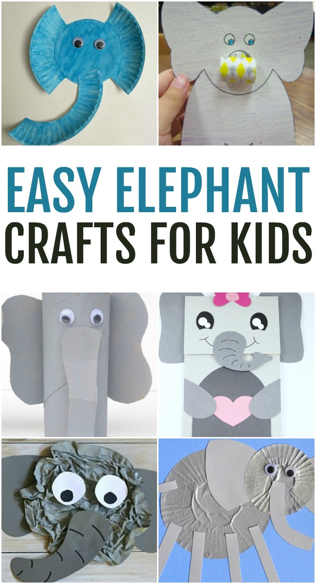 This photo features a collage of easy elephant crafts for kids.