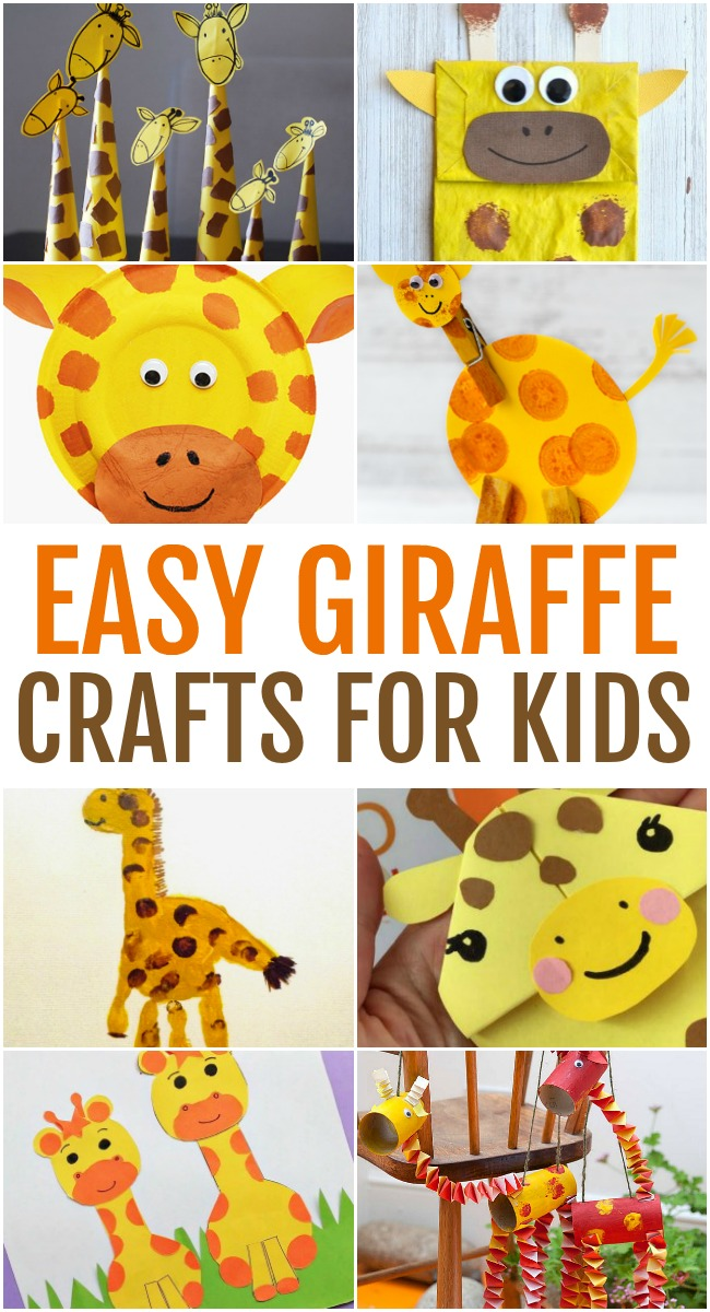 This photo features a collage of easy giraffe crafts for kids.
