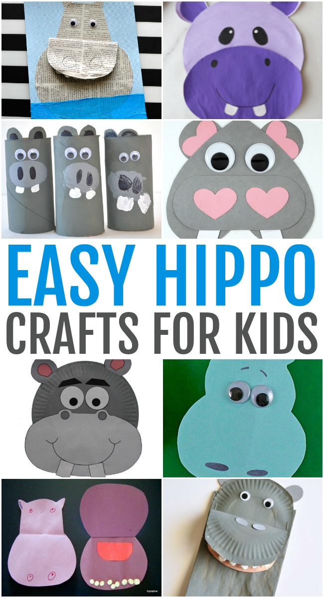 This photo features a collage of easy hippo crafts for kids to make.