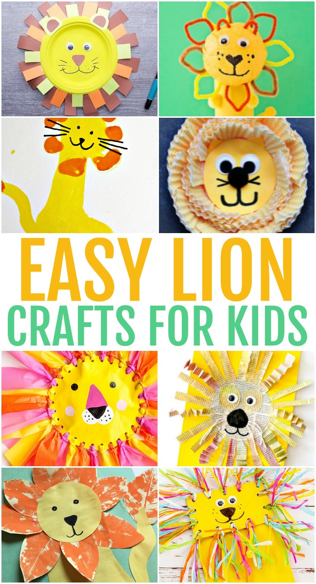 This photo features a collage of easy lion crafts for kids.