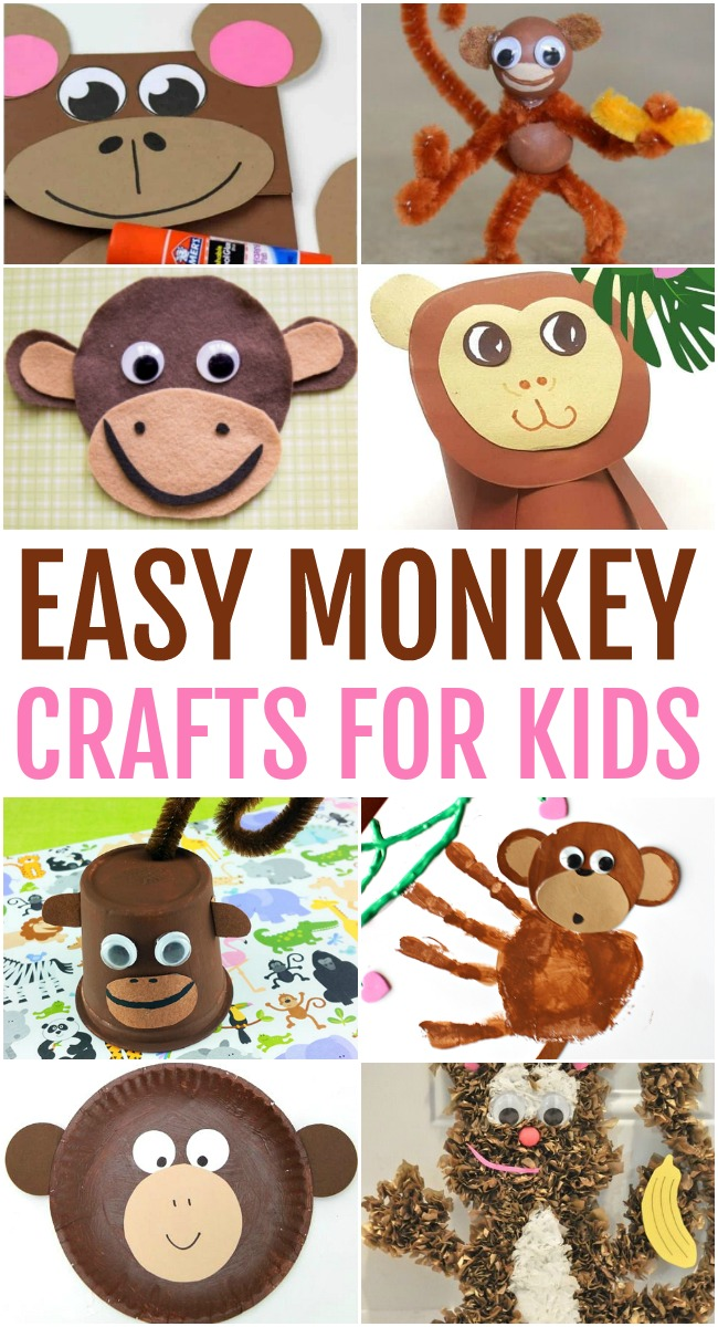 This photo features a collage of easy monkey crafts for kids.