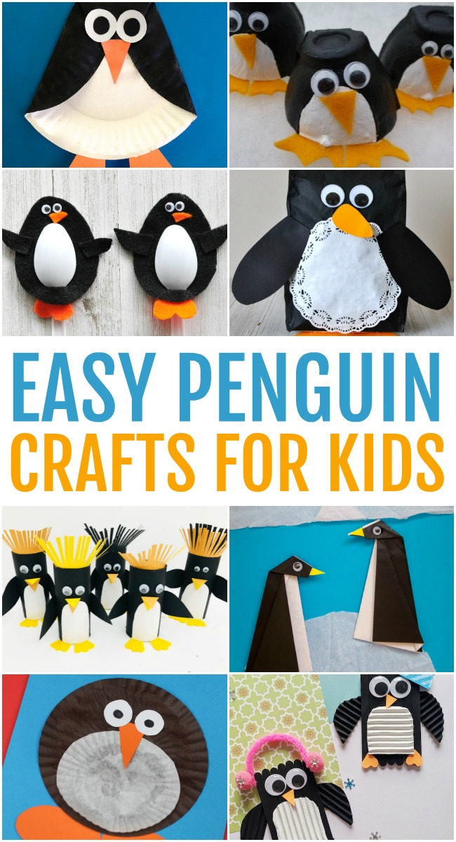 This photo features a collage of easy penguin crafts for kids.