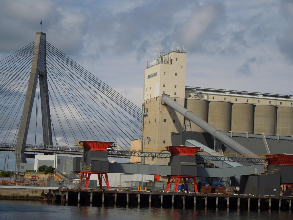 Storage silos on Glebe Island with Anzac Bridge behind. Photo by Ian Hoskins