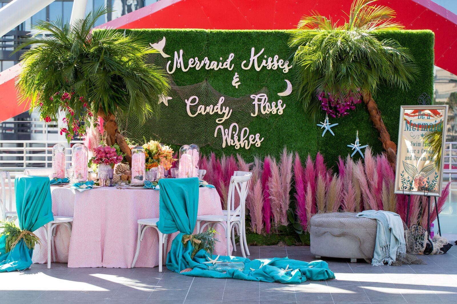 mermaid kisses, candy floss wishes, tropical, luxe launch 2018, palm tree, sea life, pink, aqua