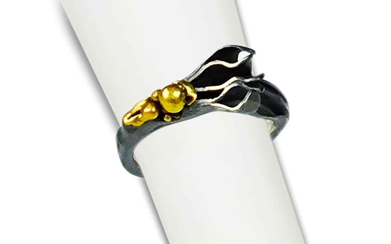 A Happy Accident! - 22kt gold and heavy black oxidized silver
