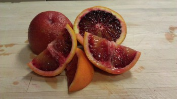 Blood Orange The Moro variety is the most popular with flesh that ranges from light organish red to a dark purple the longer it stays on the tree.