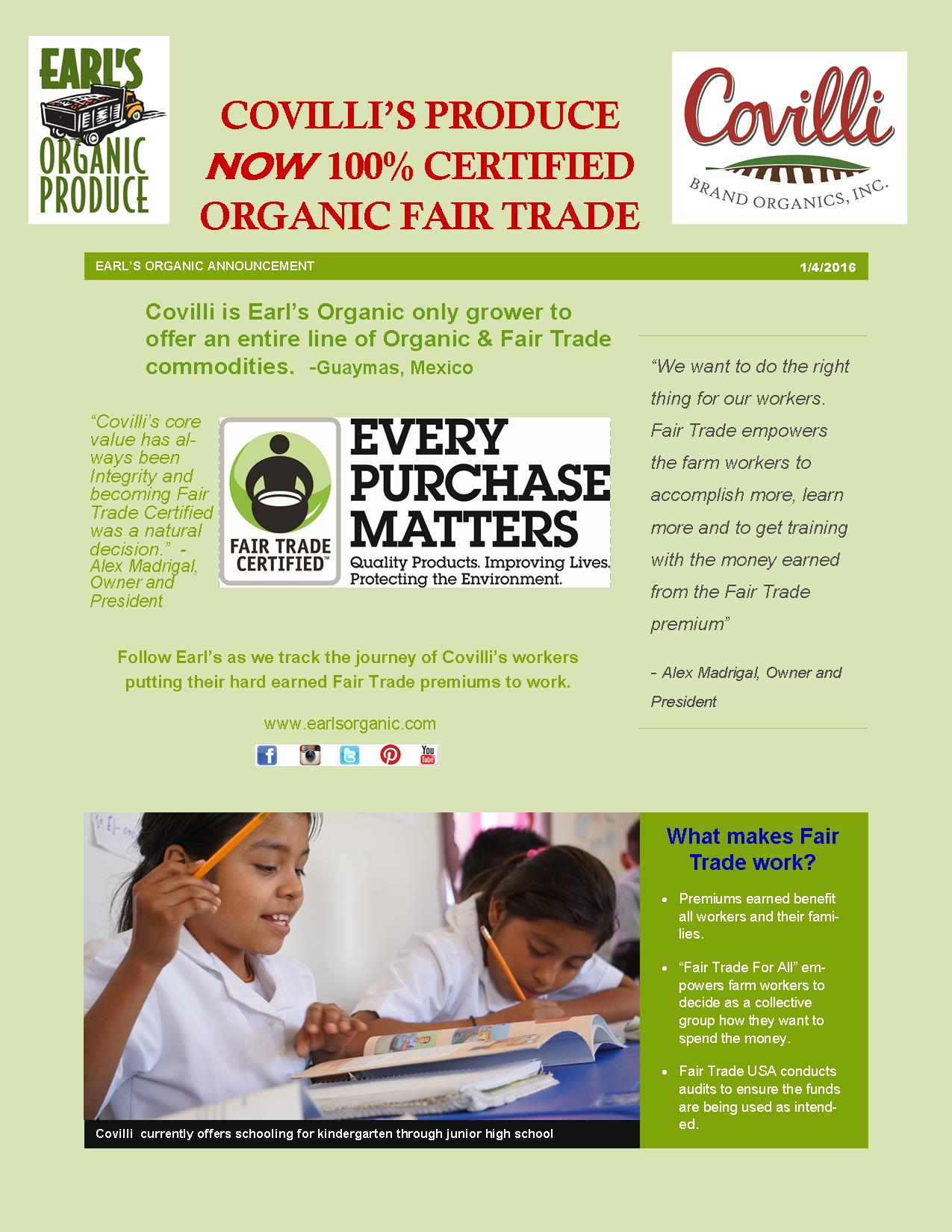 Covilli Fair Trade announcement January 4, 2016
