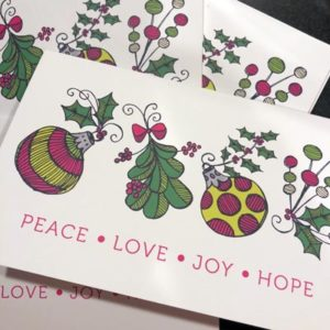 Peace Love Joy Hope Cards by LeAnne Poindexter