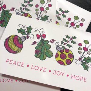 Peace Love Joy Hope Cards by LeAnne Poindexter